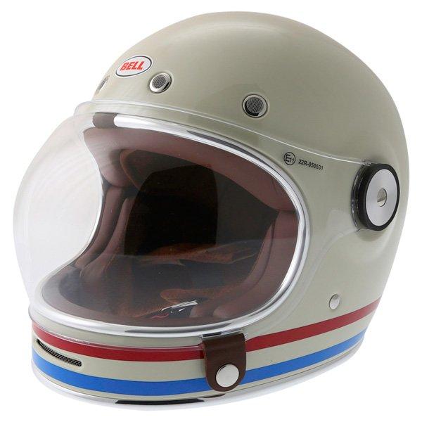 Bell Bullitt Stripes Vintage White Full Face Motorcycle Helmet Front Left
