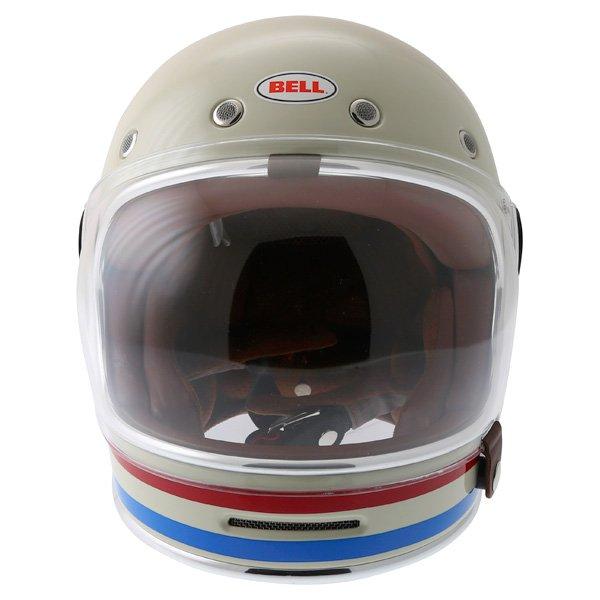 Bell Bullitt Stripes Vintage White Full Face Motorcycle Helmet Front