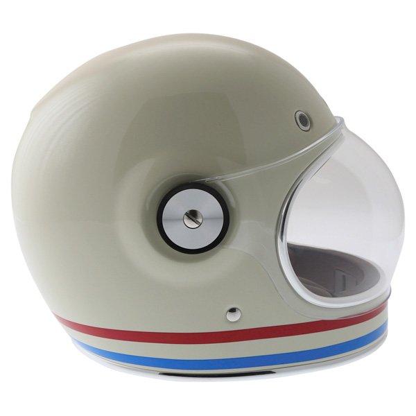 Bell Bullitt Stripes Vintage White Full Face Motorcycle Helmet Right Side