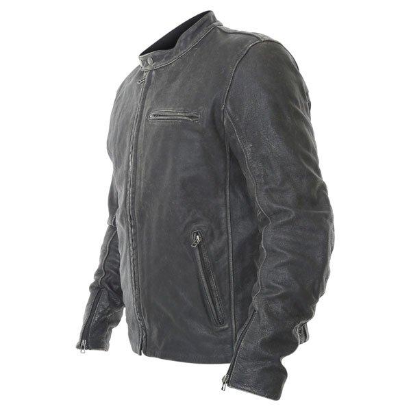 BKS Classic Black Leather Motorcycle Jacket Side