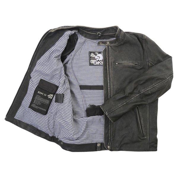 BKS Classic Black Leather Motorcycle Jacket Inside
