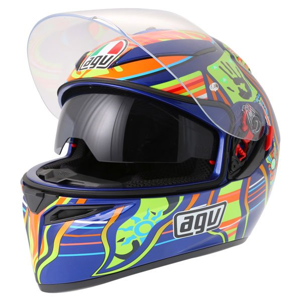 AGV K3 SV Valentinoi Rossi 5 Continents Full Face Motorcycle Helmet Open With Sun Visor