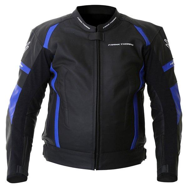Frank Thomas Dynamic Black Blue Leather Motorcycle Jacket Front