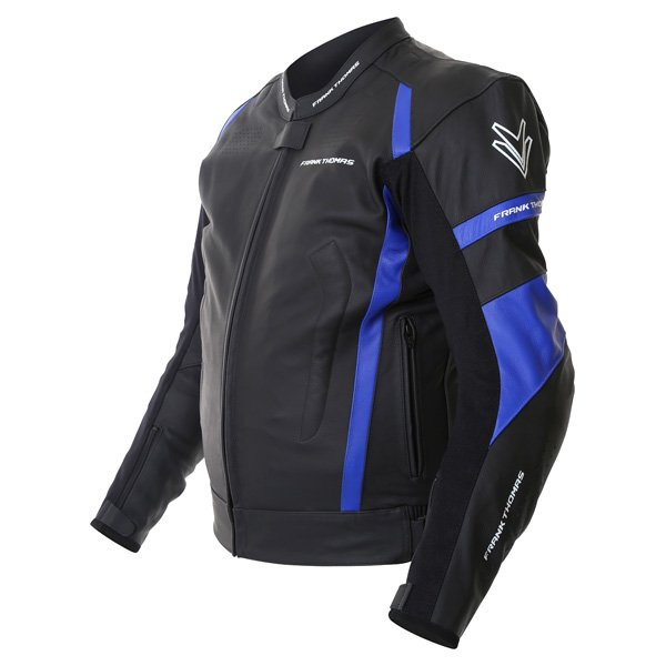 Frank Thomas Dynamic Black Blue Leather Motorcycle Jacket Side