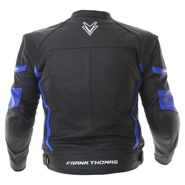 Frank Thomas Dynamic Black Blue Leather Motorcycle Jacket Back