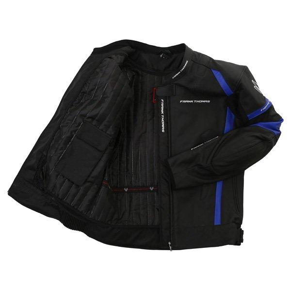 Frank Thomas Dynamic Black Blue Leather Motorcycle Jacket Inside