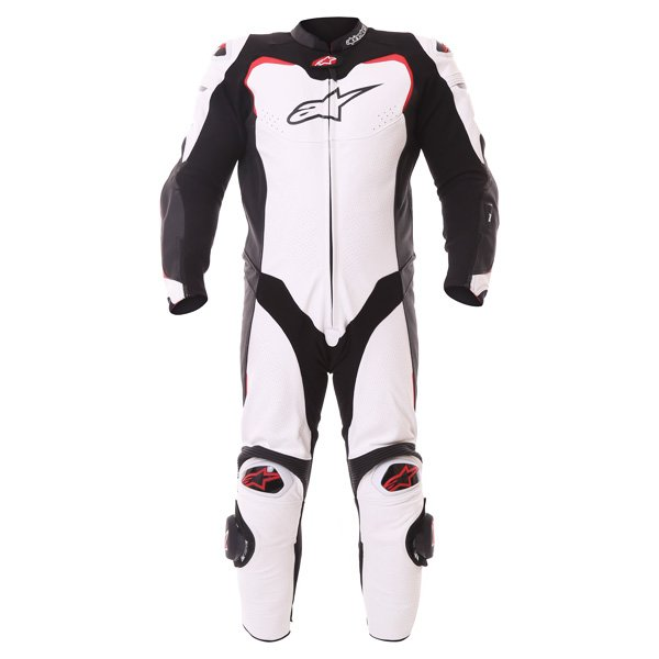 Alpinestars GP Pro Tech Air 1pc Mens White Black Red Leather Motorcycle Suit Front