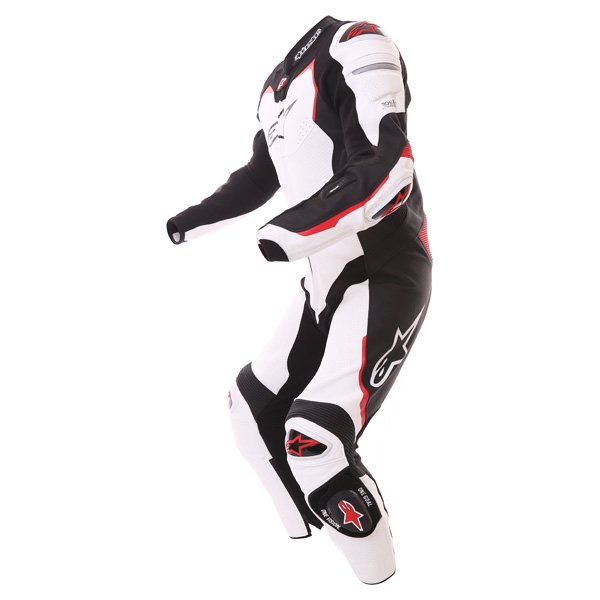 Alpinestars GP Pro Tech Air 1pc Mens White Black Red Leather Motorcycle Suit Racing crouch