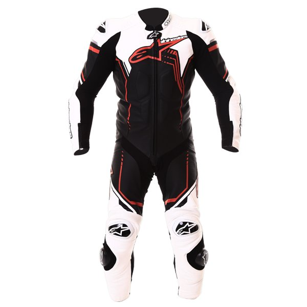 Alpinestars GP Plus 1pc 2016 Mens Black White Red Leather Motorcycle Suit Front
