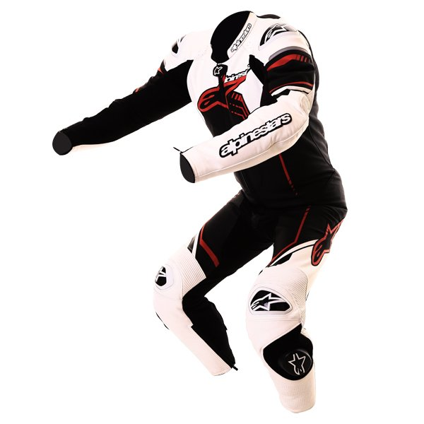 Alpinestars GP Plus 1pc 2016 Mens Black White Red Leather Motorcycle Suit Racing crouch