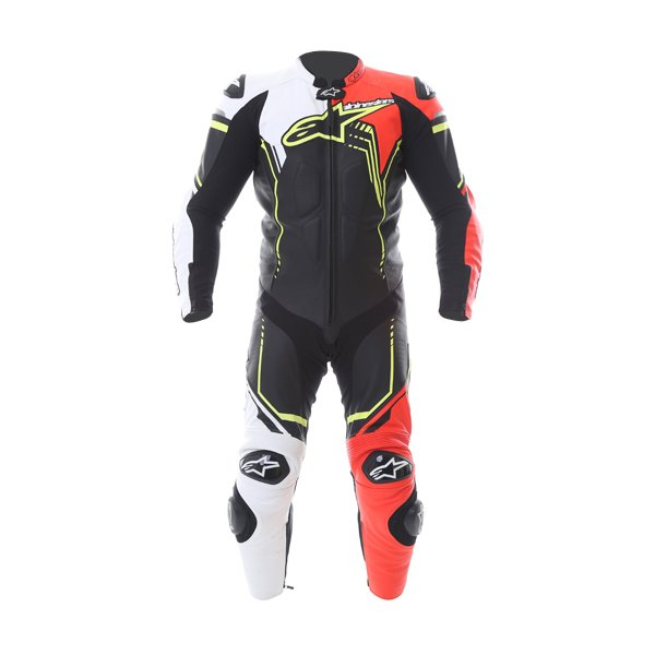 Alpinestars GP Plus 1pc 2016 Mens Black White Red Fluo Yellow Leather Motorcycle Suit Front