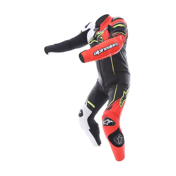 Alpinestars GP Plus 1pc 2016 Mens Black White Red Fluo Yellow Leather Motorcycle Suit Racing crouch
