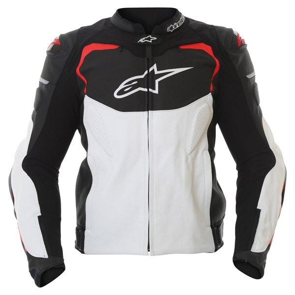 Alpinestars GP Pro Black White Red Leather Motorcycle Jacket Front