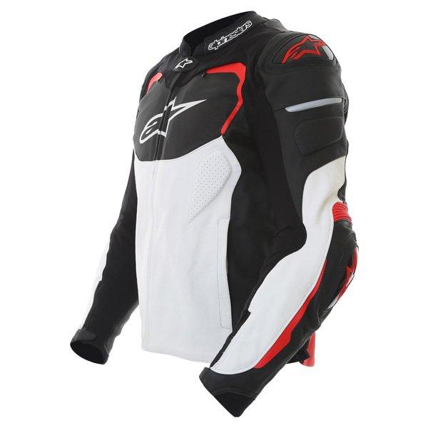 Alpinestars GP Pro Black White Red Leather Motorcycle Jacket Side