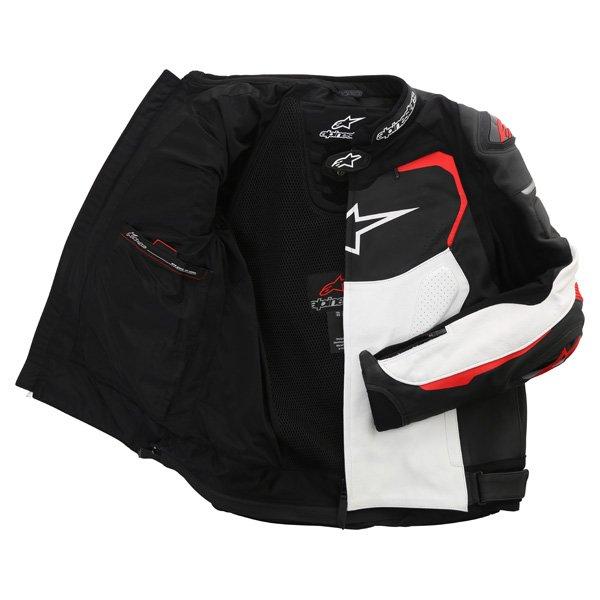 Alpinestars GP Pro Black White Red Leather Motorcycle Jacket Inside