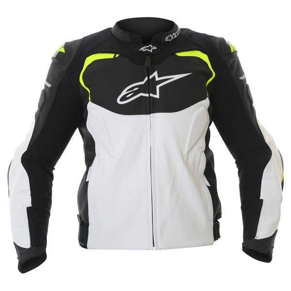 Alpinestars GP Pro White Black Fluo Yellow Leather Motorcycle Jacket Front