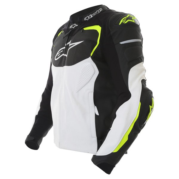 Alpinestars GP Pro White Black Fluo Yellow Leather Motorcycle Jacket Side