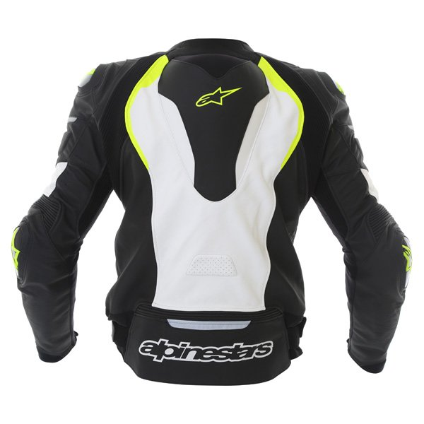 Alpinestars GP Pro White Black Fluo Yellow Leather Motorcycle Jacket Back