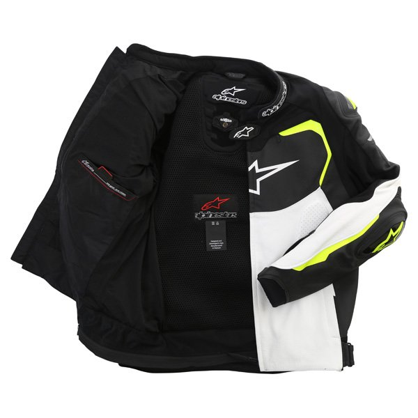 Alpinestars GP Pro White Black Fluo Yellow Leather Motorcycle Jacket Inside