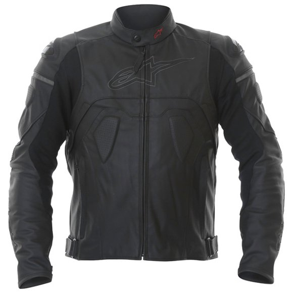 Alpinestars Core Black Leather Motorcycle Jacket Front