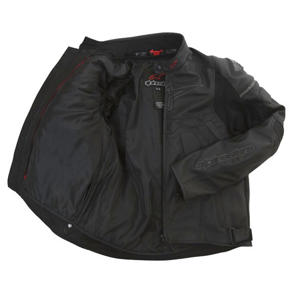 Alpinestars Core Black Leather Motorcycle Jacket Inside