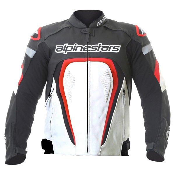 Alpinestars Motegi Black White Red Leather Motorcycle Jacket Front