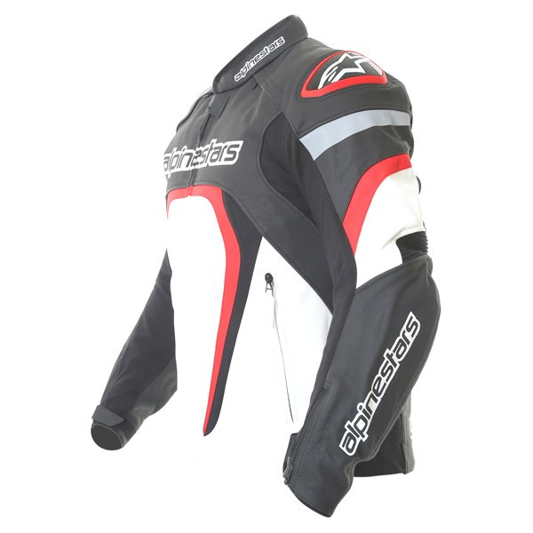 Alpinestars Motegi Black White Red Leather Motorcycle Jacket Side