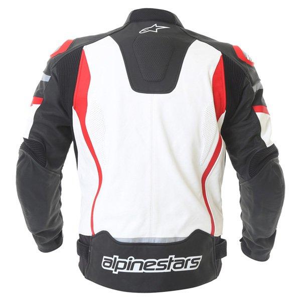 Alpinestars Motegi Black White Red Leather Motorcycle Jacket Back