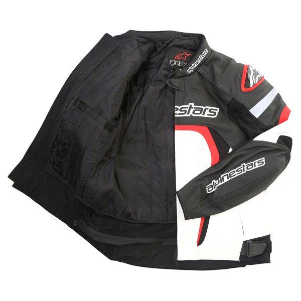 Alpinestars Motegi Black White Red Leather Motorcycle Jacket Inside
