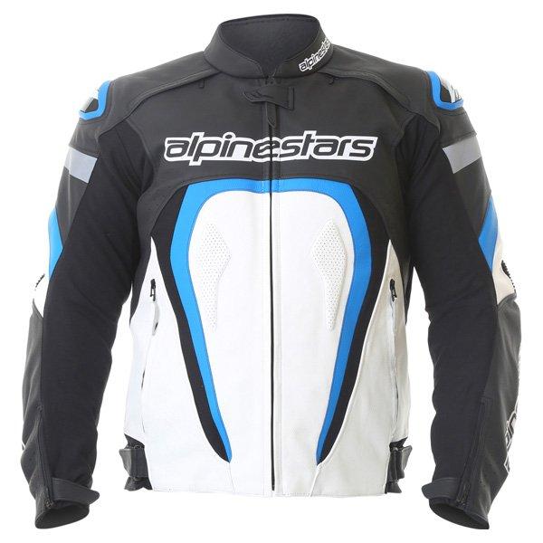 Alpinestars Motegi Black White Blue Leather Motorcycle Jacket Front