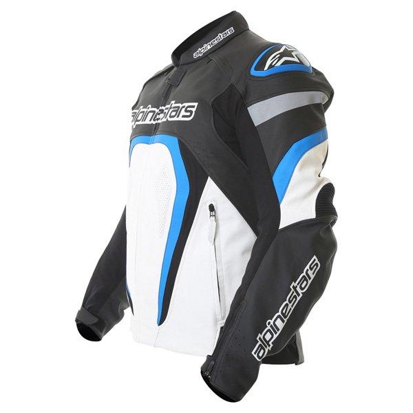 Alpinestars Motegi Black White Blue Leather Motorcycle Jacket Side