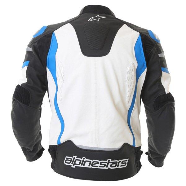 Alpinestars Motegi Black White Blue Leather Motorcycle Jacket Back