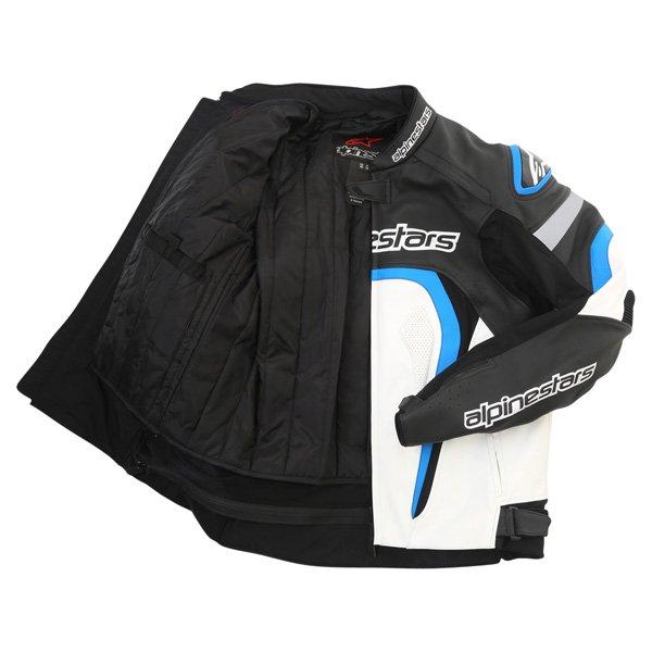 Alpinestars Motegi Black White Blue Leather Motorcycle Jacket Inside