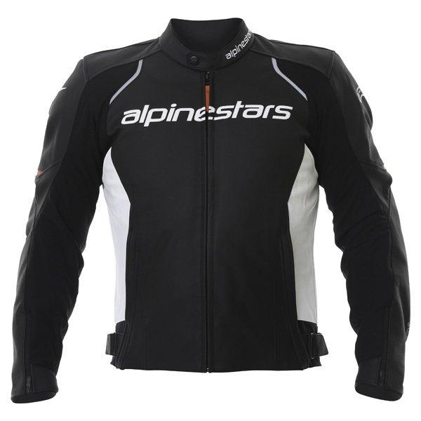 Alpinestars Devon Black White Leather Motorcycle Jacket Front