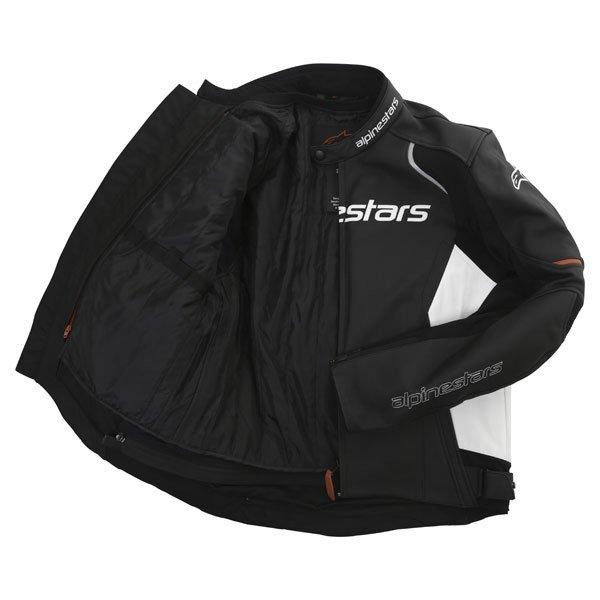 Alpinestars Devon Black White Leather Motorcycle Jacket Inside