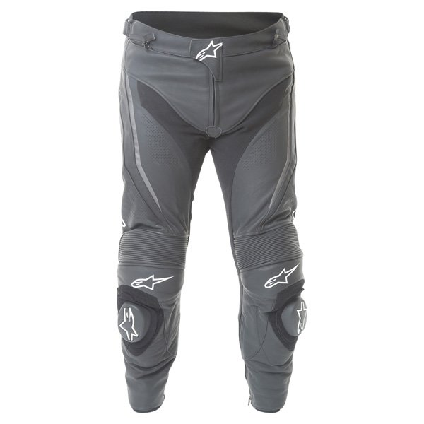 Alpinestars Track 2016 Black Leather Motorcycle Jeans Front