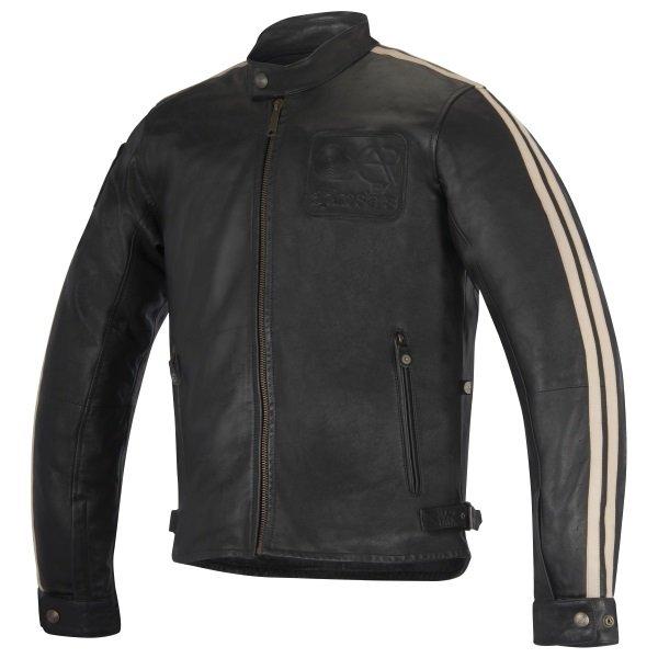 Alpinestars Charlie Black Sand Leather Motorcycle Jacket Front