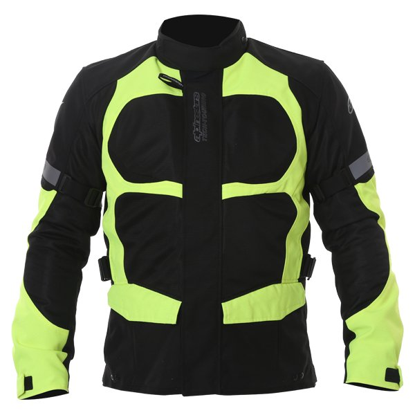 Alpinestars Sante Fe Air DS Mens Black Fluo Yellow Textile Motorcycle Jacket Front