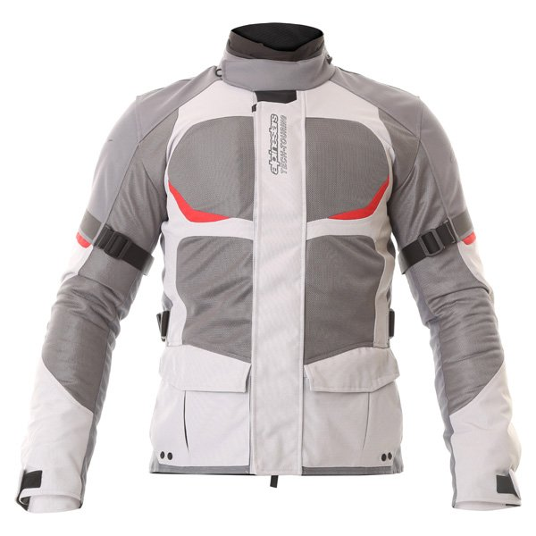 Alpinestars Sante Fe Air DS Mens Light Grey Grey Textile Motorcycle Jacket Front