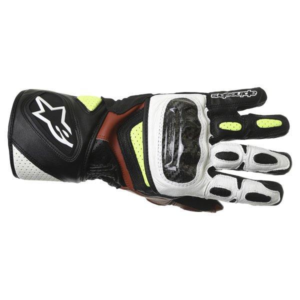 Alpinestars SP-2 Black White Yellow Red Motorcycle Gloves Back