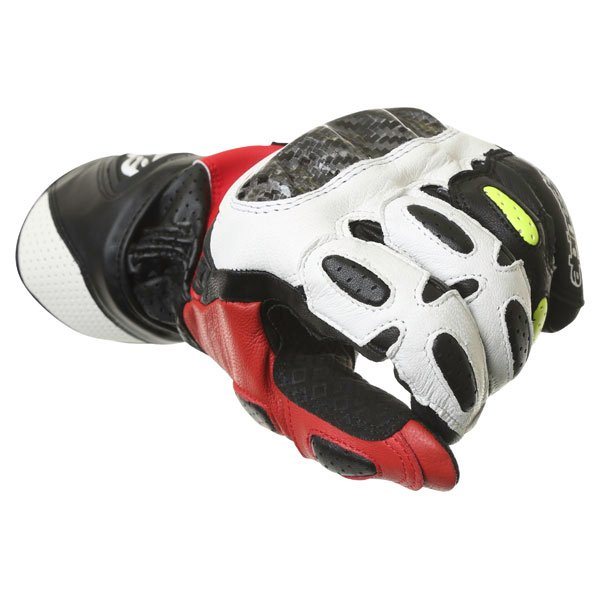 Alpinestars SP-2 Black White Yellow Red Motorcycle Gloves Knuckle