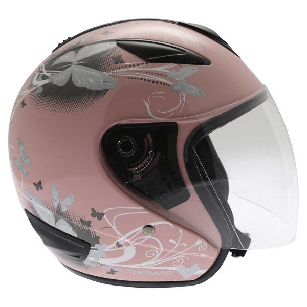 Frank Thomas DV28 Pink Ladies Open Face Motorcycle Helmet Right Side