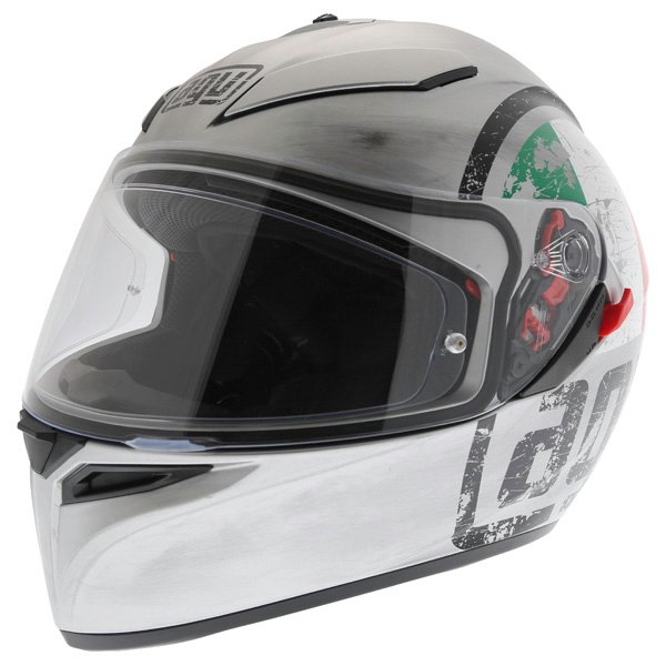 AGV K3 SV Scudetto Matt Silver Full Face Motorcycle Helmet Front Left