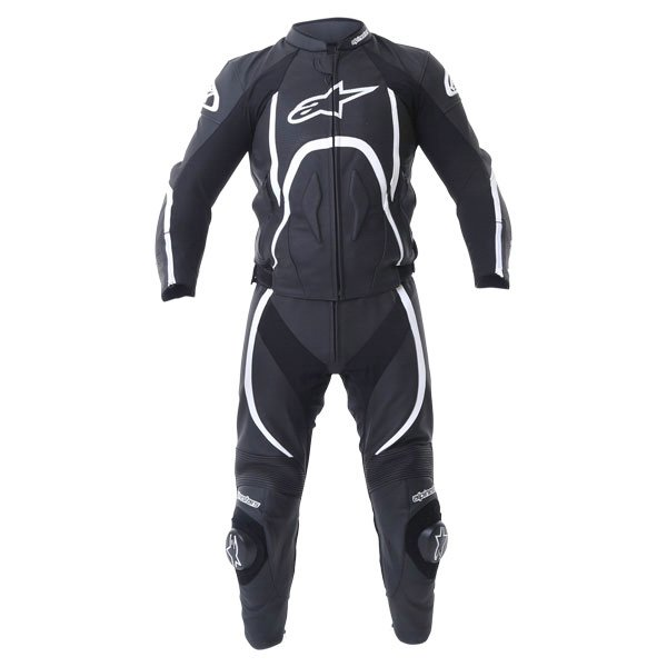 Alpinestars Orbiter 2 piece Mens Black White Leather Motorcycle Suit Front