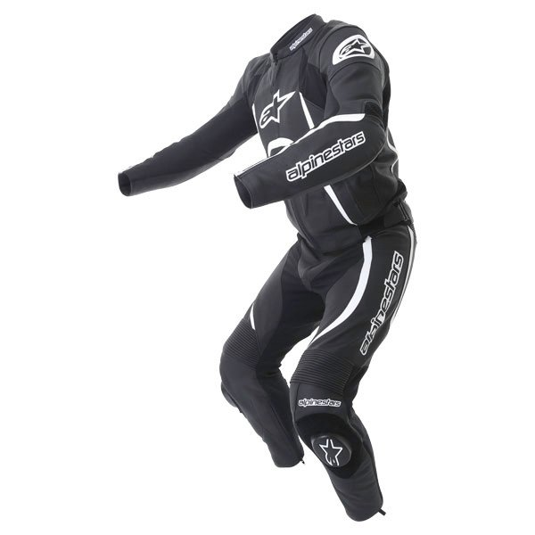 Alpinestars Orbiter 2 piece Mens Black White Leather Motorcycle Suit Racing crouch