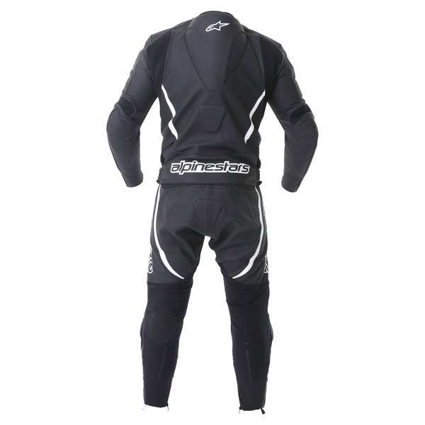 Alpinestars Orbiter 2 piece Mens Black White Leather Motorcycle Suit Back