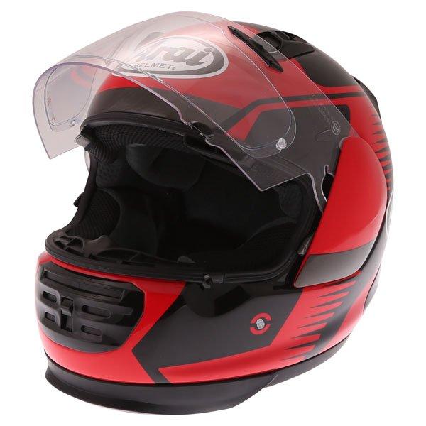 Arai Rebel Venturi Red Full Face Motorcycle Helmet Open Visor