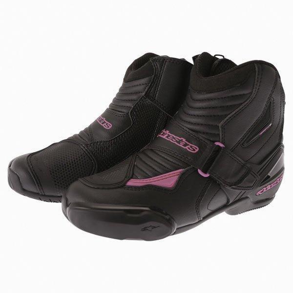 Alpinestars Stella SMX 1 R Black Pink Short Motorcycle Ankle Boots Pair