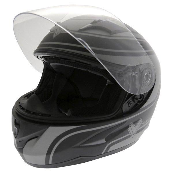 Frank Thomas FT36 Matt Black Grey Full Face Motorcycle Helmet Open With Sun Visor