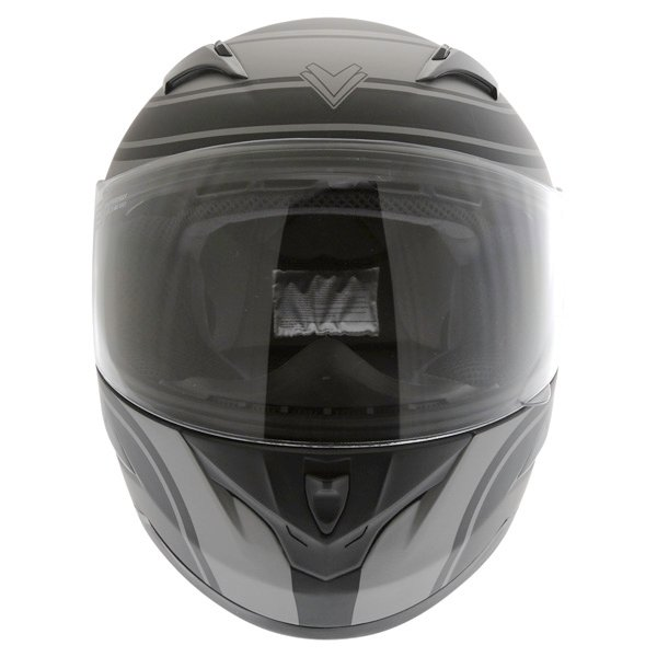 Frank Thomas FT36 Matt Black Grey Full Face Motorcycle Helmet Front